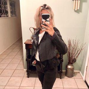 Black leather canvas jacket Bernardo collection